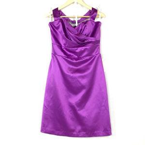 After Six Halter Midi Matte Satin Purple Dress